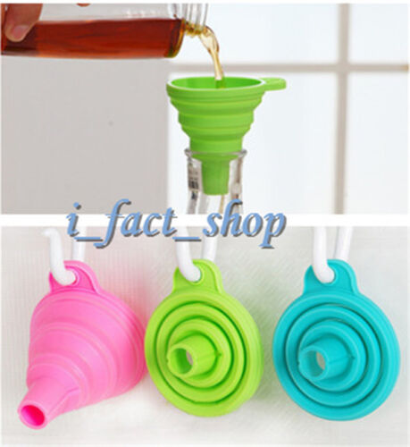 Durable Kitchen Gadget Tool Food-Grade Silicone Funnel Hopper Collapsible IFA