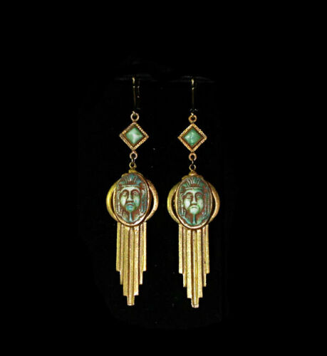 VTG 1920s ART DECO EGYPTIAN REVIVAL Glass PHARAOH MASK DROP EARRINGS!