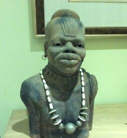 A large Terracotta bust of a African