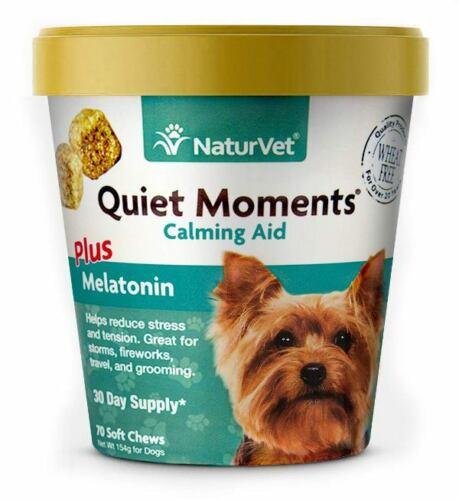 NaturVet Quiet Moments Plus Melatonin Calming Aid for Dogs 70 Count Soft Chew