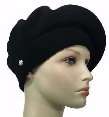 Laulhere French Wool Soft Beret Hat La Parisienne Black Made In France 6 7 8