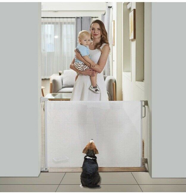 """EasyBaby Products Indoor/Outdoor Retractable Baby Gate 33"""" H And 55"""" W, White"""