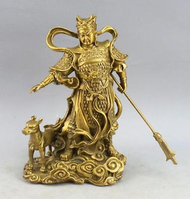 Chinese Myth Brass Copper Protect Three Eyes Yang Jian God Erlang Dog Statue
