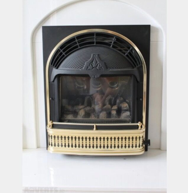 robinson willey romany black brass living flame gas fire. Black Bedroom Furniture Sets. Home Design Ideas