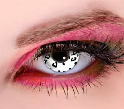 Crazy Contact Lenses Lentilles Kontaktlinsen Fun Halloween Leopard White eyes UK ()