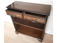 Lovely, compact inlaid mahogany inlaid bookcase and drawer unit with bronze handles