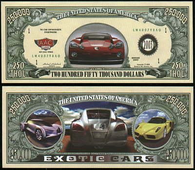 Exotic Car  250 000 Funny Money Bill    Lot Of 2 Bills