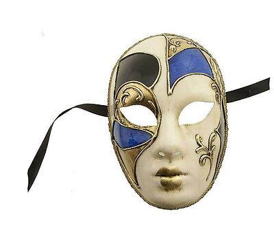 Mask Venice Volto Blue Black & Gold Genuine Carnival Venetian 80