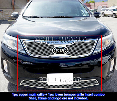 For 2014-2015 Kia Sorento Stainless Steel Bolt Over Mesh Grill Insert Combo
