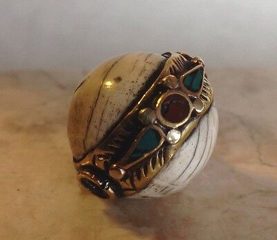 Vintage Conch Shell Antique Brass Turquoise Coral Tibetan Nepal Bead Pendant