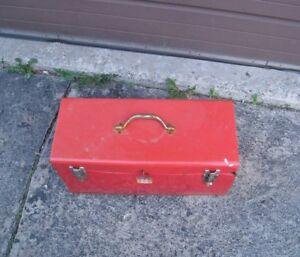 "Old used red Mastercraft 21""  Metal Toolbox"