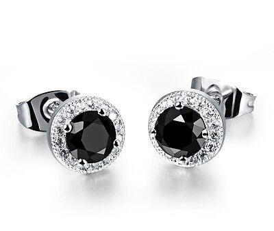 8mm Men Women Sterling Silver Black Round Cubic Zirconia Ear Stud Earrings Gift