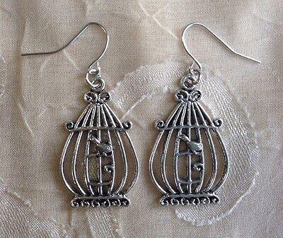 NEW Large Birdcage Earrings Silver Bird Trendy Cute Fashion Jewelry Boho Hippie