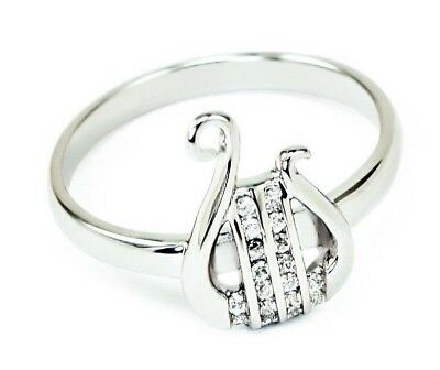 Alpha Chi Omega Sorority Lyre Ring with Czs | College Greek Sorority Jewelry Alpha Omega Jewelry