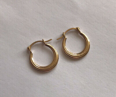 Used, Tiny 22 Carat Gold Sleeper Hoop Earrings Hallamarked  for sale  Shipping to Nigeria