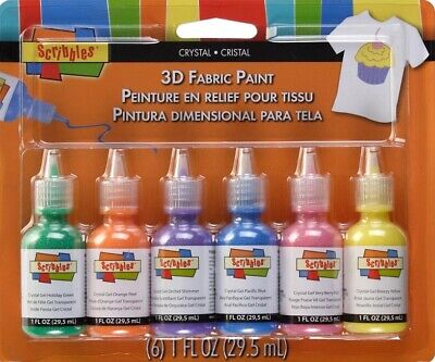 Scribbles 3D Fabric Paints 1 oz 6/Pk Crystal