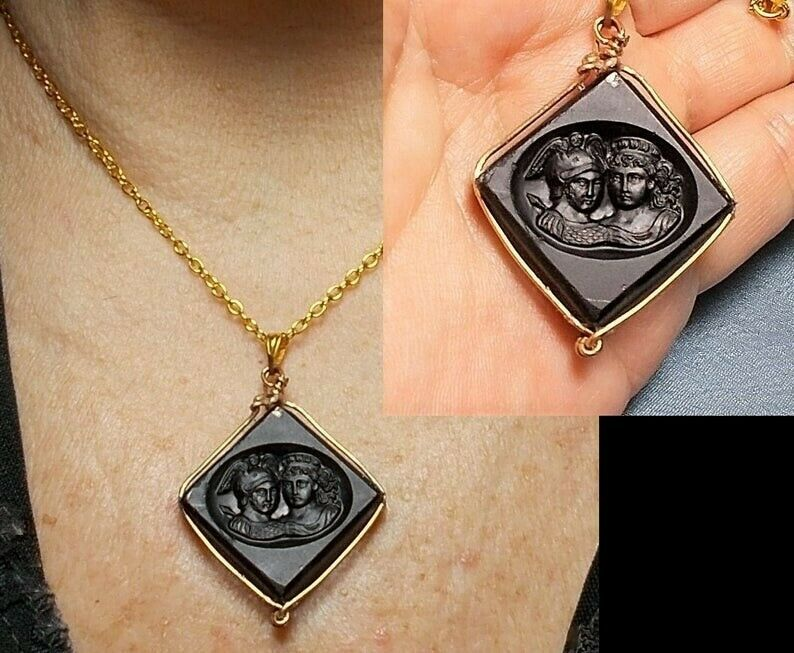 1 Antique Double Headed Jet Black Cameo Intaglio Mercury w/ Double Winged Helmet