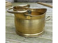 Brass coal bucket and companion set