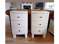 Pair of matching painted curved bedside cabinet tables chest of drawers