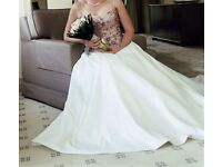 Satin Wedding Gown (Diana Sposa, Size 12) - Full Ivory Skirt with Satin and Pink Organza Bead Bodice