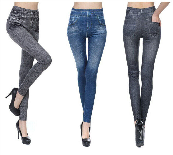 High Waist Women's Denim Jean Leggings Stretch Slimming Jegging Elastic Pants Clothing, Shoes & Accessories