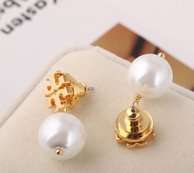 Tory Burch Evie Logo Pearl Drop Earrings New Gold