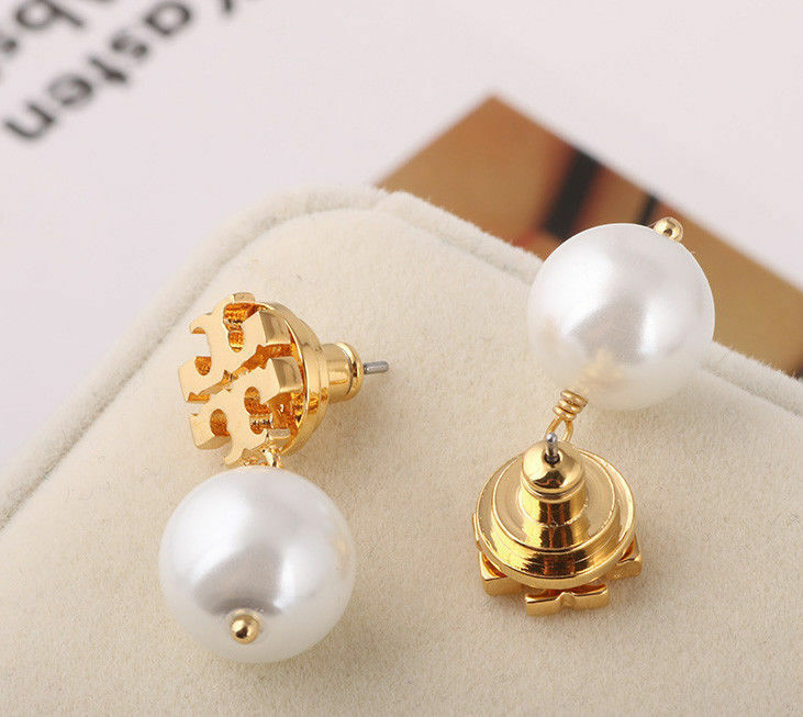 $23.99 - Tory Burch Evie Logo Pearl Drop Earrings New Gold