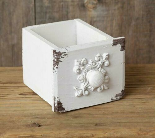 """New Shabby White French Chic Chippy Drawer Box Vintage Style Wood Cottage 4"""" T"""