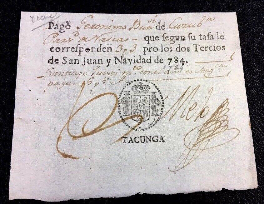 ECUADORIAN NAVAL CUSTOMS FORM 1784