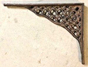 SET OF 4 LATTICE SHELF BRACKET BRACE Rustic Antique Brown Cast Iron corbel
