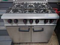Falcon Dominator - Commercial 6 ring cooker with oven. LPG.