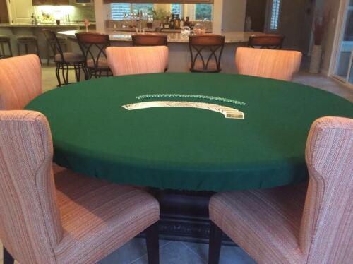 "Green Poker Felt Table cover - fits 60"" round Lifetime table  Elastic bl"