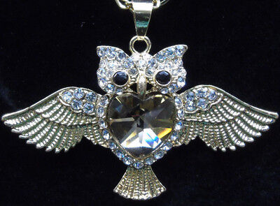Womens Owl Necklace Fashion Jewelry Crystal Charm Pendant Long Chain Sweater