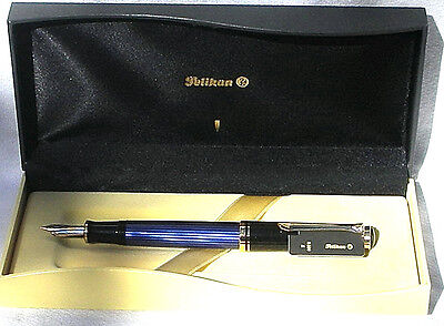 Pelikan Souveran M600M Fountain Pen  Blue & Black Medium Nib New In Box Product