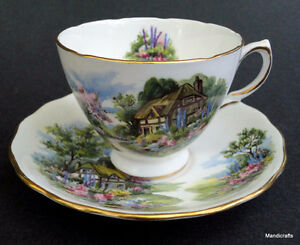 Royal Vale Cup & Saucer - English cottage garden STUNNNING