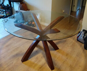 Glass dining table ~47in for sale
