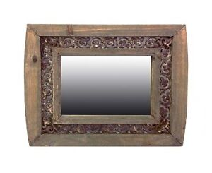 Set Of 2 Small Rustic Wall Mirror Aged Off Timber Frame