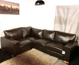 -- Dfs Ex display dark brown real leather corner sofa