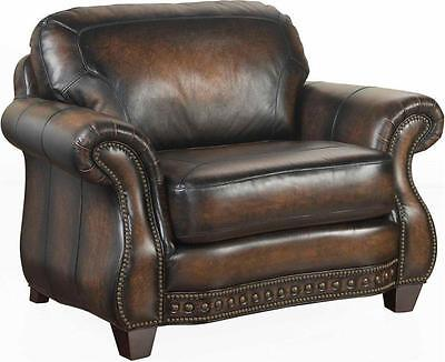 broyhill furniture english country stetson burnished leather chair and a half. Black Bedroom Furniture Sets. Home Design Ideas