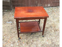 MAHOGANY CARD TABLE WITH FOLD OVER REVOLVING TOP