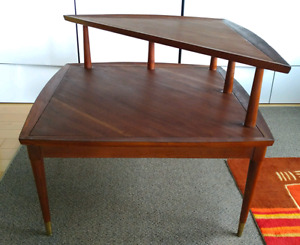 Mid Century Delicraf Walnut Step End table