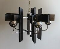 MID CENTURY MODERN CHROME EYEBALL + WOOD + LUCITE CHANDELIER