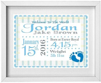 BABY BOYS NAME | Personalised Picture | New Baby | Gift | FREE POST | (NP014)