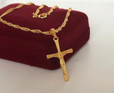 Edel Halskette mit Kreuz Anhänger 999er Gold 24 Karat vergoldet Neu