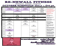 October fitness classes, free , 5$' 10$ classes
