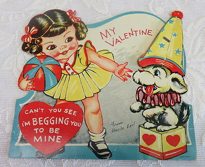 Vintage Valentine, Honeycomb, Dog Performs With Girl