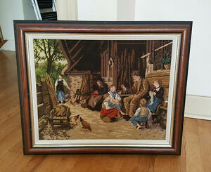 Needlepoint Petitpoint Picture - The StoryTeller - Hand stitched