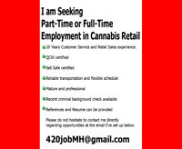 QCW Cannabis Worker Seeking Employment.