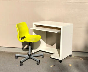Ikea Rolling Computer Desk and Chair-Green