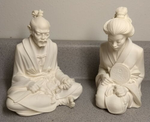 intage A GIANNELLI SET JAPANESE MAN LOTUS WOMAN KNEELING COUPLE BONDED ALABASTER